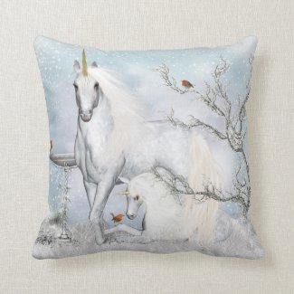 Winter Robins and Unicorns Throw Pillow