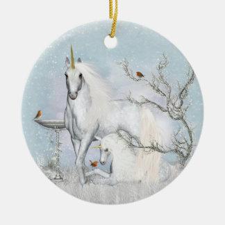 Winter Robins & Unicorns Ceramic Round Ornament