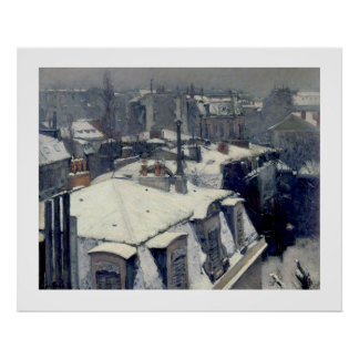 Winter Rooftops Paris Caillebotte Poster