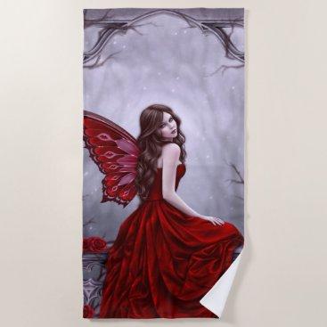 Beach Themed Winter Rose Butterfly Fairy Beach Towel