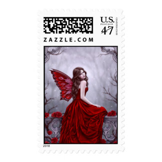 Winter Rose Butterfly Fairy Custom Postage
