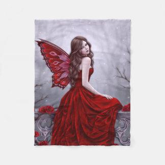 Winter Rose Butterfly Fairy Fleece Blanket
