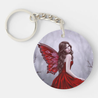 Winter Rose Butterfly Fairy Round Acrylic Keychain