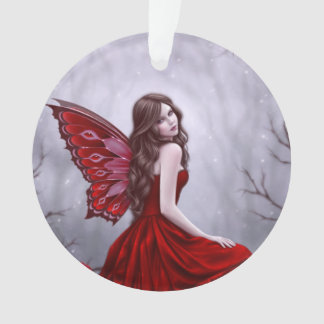 Winter Rose Butterfly Fairy Round Ornament