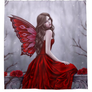 Winter Rose Butterfly Fairy Shower Curtain