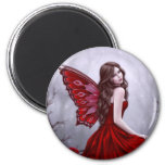 Winter Rose Fairy Art Round Magnet