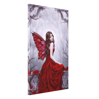 Winter Rose Fairy Art Wrapped Canvas Print