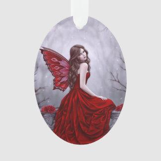 Winter Rose Fairy Oval Ornament