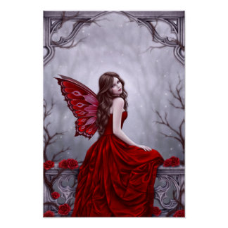 Winter Rose Fairy Poster Art Print