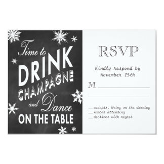 Winter RSVP Time to Drink Champagne Card