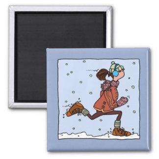 winter runner (woman) magnet