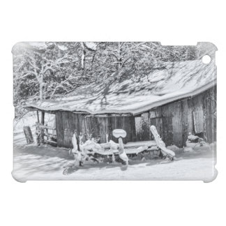 Winter Rural Scene of Barn and Rake - Tennessee Case For The iPad Mini