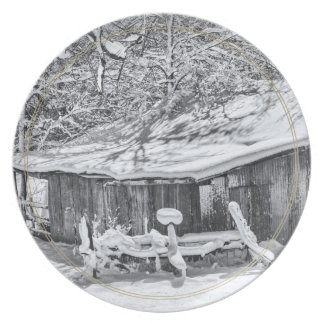 Winter Rural Scene of Barn and Rake - Tennessee Party Plate
