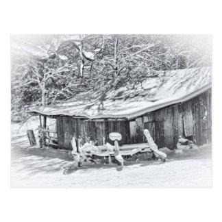 Winter Rural Scene of Barn and Rake - Tennessee Postcard