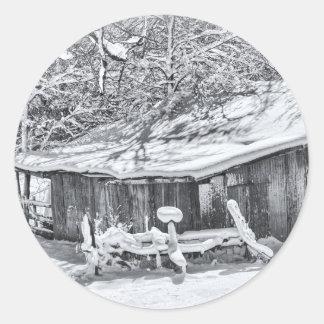Winter Rural Scene of Barn and Rake - Tennessee Round Sticker