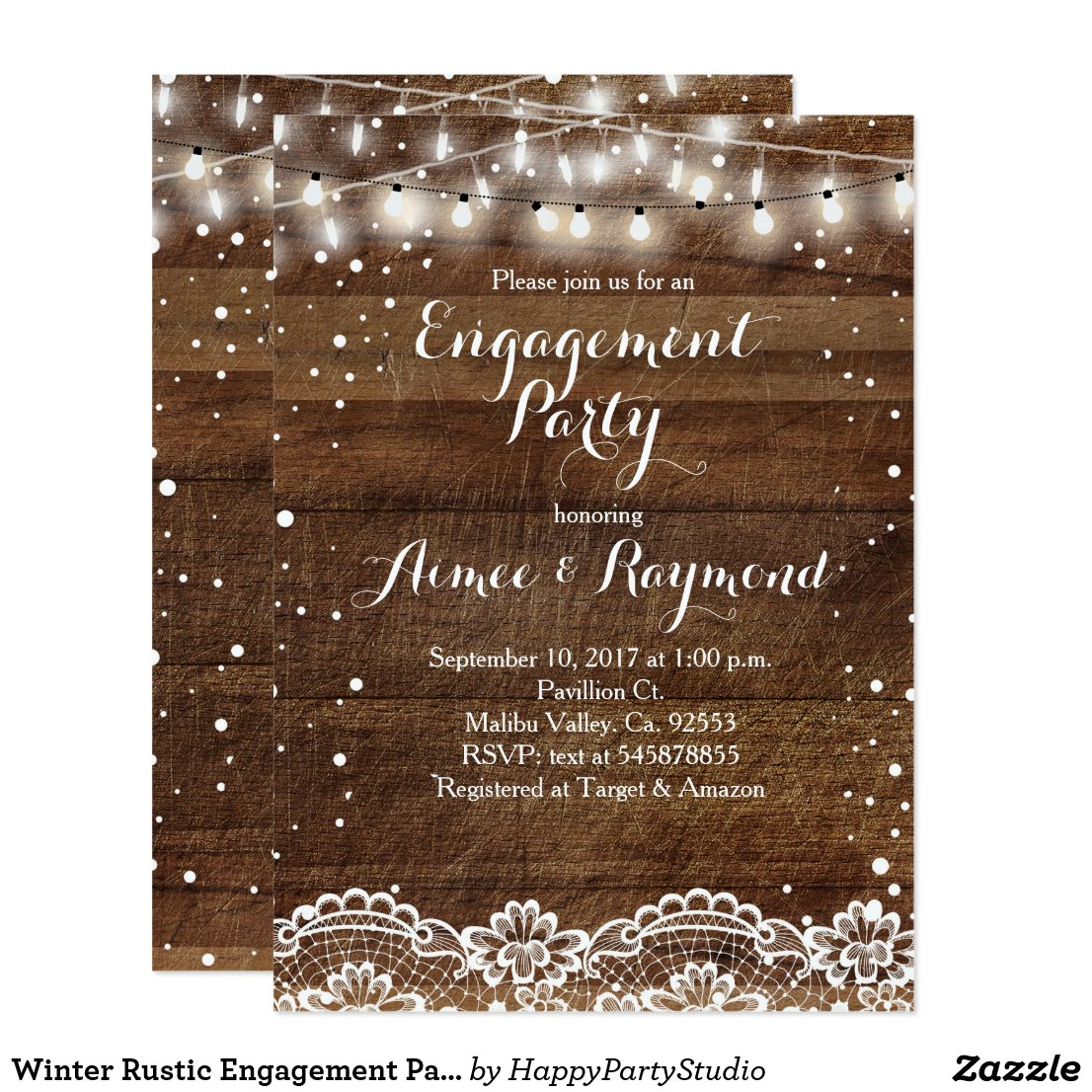 Winter Rustic Engagement Party Invitation