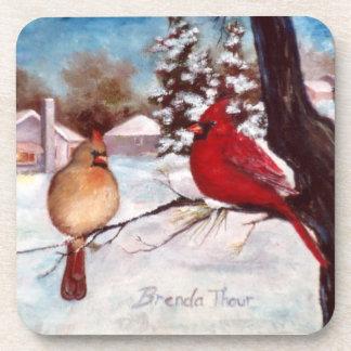 Winter s Serenity Cardinal Coasters