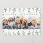 """Winter Sage   Holiday Photo Collage Card<br><div class=""""desc"""">Elegant holiday photo card features a border of pale green hand sketched foliage. Add three of your favorite square photos aligned side by side. """"Merry Christmas"""" appears at the top in chic modern calligraphy lettering. Personalize with your custom greeting and names along the bottom.</div>"""