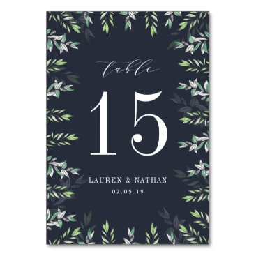 Beach Themed Winter Sage | Personalized Table Number Card