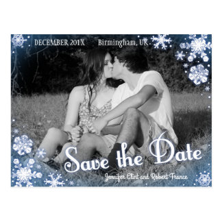 Winter Save the Date Postcard Snowflake Custom