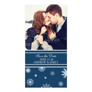 Winter Save the Date Wedding Photo Cards Blue