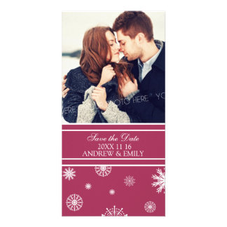 Winter Save the Date Wedding Photo Cards Burgundy