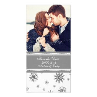 Winter Save the Date Wedding Photo Cards Gray