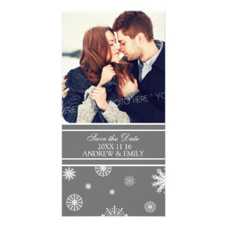 Winter Save the Date Wedding Photo Cards Grey