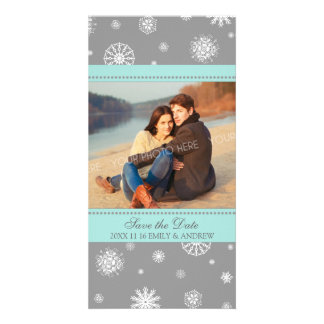 Winter Save the Date Wedding Photo Cards Grey Blue