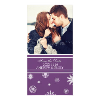 Winter Save the Date Wedding Photo Cards Plum