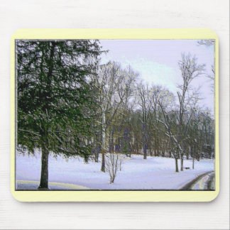 Winter Scape Scene with Yellow Border Mouse Pad