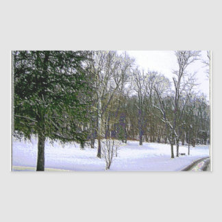 Winter Scape with Yellow Border Rectangular Sticker