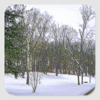 Winter Scape with Yellow Border Square Sticker