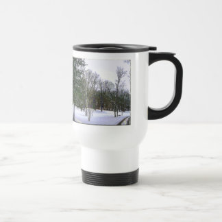 Winter Scape with Yellow Border Travel Mug