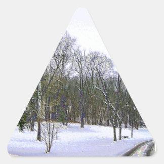 Winter Scape with Yellow Border Triangle Sticker
