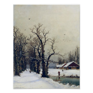 Winter scene, 19th century poster