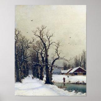 Winter scene, 19th century poster