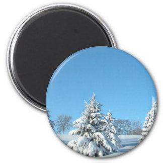 Winter Scene 2 Inch Round Magnet