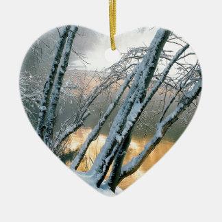 Winter Scene Alder Trees Merced River Morning Ceramic Ornament
