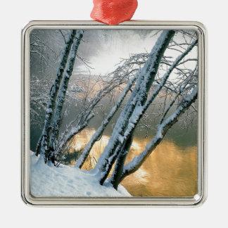 Winter Scene Alder Trees Merced River Morning Metal Ornament