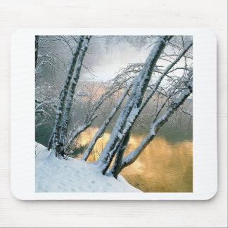 Winter Scene Alder Trees Merced River Morning Mousepads