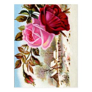 Winter Scene and Flowers Postcard