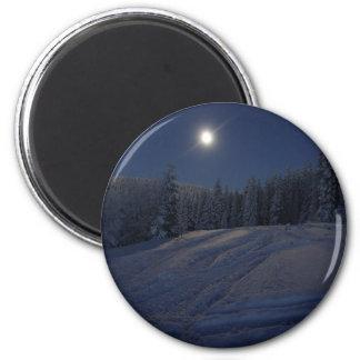 winter scene at night magnet
