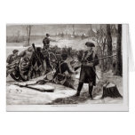 Winter Scene at the Continental Army Encampment Greeting Card
