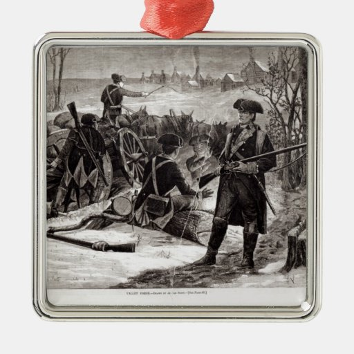 Winter Scene at the Continental Army Encampment Christmas Ornaments