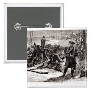 Winter Scene at the Continental Army Encampment Pinback Button