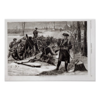 Winter Scene at the Continental Army Encampment Poster