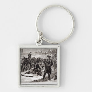Winter Scene at the Continental Army Encampment Silver-Colored Square Keychain