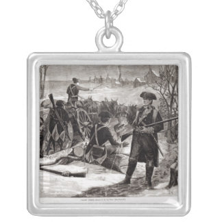 Winter Scene at the Continental Army Encampment Square Pendant Necklace