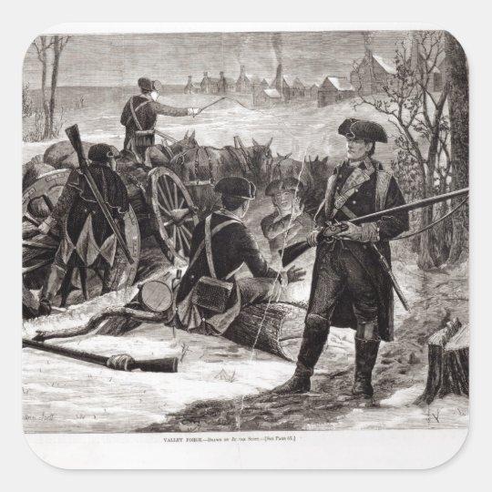 Winter Scene at the Continental Army Encampment Square Sticker